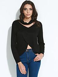 Solide Sexy / Einfach T-shirt,V-Ausschnitt Frühling / Herbst Langarm Schwarz / Grau Polyester Mittel
