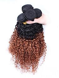 """3Pcs/Lot 10""""-26"""" Peruvian Virgin Hair Color 1B30 Kinky Curly Human Hair Weaves"""