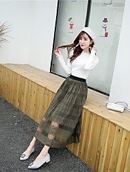 Korean version of spring and summer eyelash lace skirt dress female literary retro significant lanky waist skirt bottoming long section