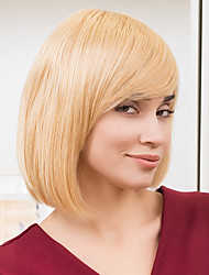 Lovely Shoulder Length Bob Hairstyles Capless Human Hair Wigs Natural Straight Human Ombre Blends Hair for Women 2017