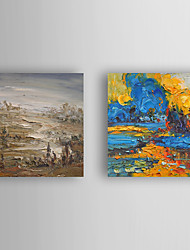 Hand-Painted  Abstract Landscape Set of 2 Canvas Oil Painting With Stretcher For Home Decoration Ready to Hang