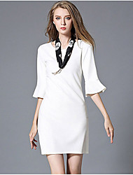 Women's Formal Work Sexy Sophisticated Sheath Dress,Solid Ruffle Round Neck Above Knee ½ Length Sleeve Nylon Spandex White SpringHigh