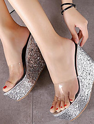 Damen-Sandalen-Outddor-Kunstleder-Keilabsatz-Andere-Grün Rosa Weiß Silber Gold
