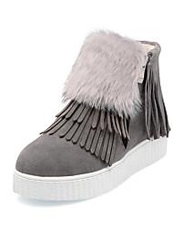 Women's Boots Spring Fall Winter Comfort Fur Fleece Office & Career Athletic Casual Platform Fur Zipper Tassel Black Red Gray Hiking
