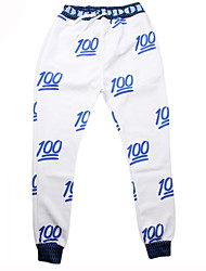 Pants Cosplay Lolita Dress White Print Pants For Men Terylene Polyester