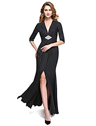 LAN TING BRIDE Sheath / Column Mother of the Bride Dress - Furcal Floor-length Half Sleeve Jersey withSplit Front Criss Cross Crystal