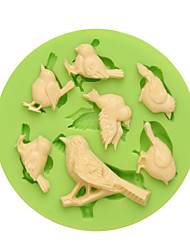 First Class 7 Cavities Lovely Birds Fondant Mold Silicone with Competitive Price Color Random