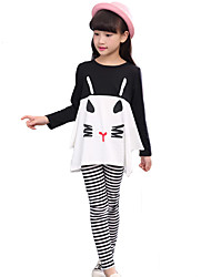Girl's Cotton Fashion casual/Daily Spring/Autumn Cartoon Print Long Sleeve T-shirt And Striped Pants Sports Two-piece Set