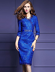 Women's Plus Size Casual/Daily Vintage Bodycon Dress,Solid Lace V Neck Knee-length ¾ Sleeve Polyester Blue Spring Summer Mid Rise