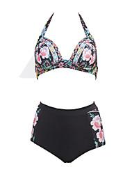 Mulheres Tanquini Cintura-Alta / Floral / Push Up Nadador Com Aro / Sem Bojo Poliéster / Elastano Mulheres