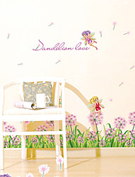 Romance Dandelion Lover Wall Stickers Fashion Florals Fairy Wall Stickers Plane Wall Stickers Decorative Wall Stickers Home Decoration Wall Decal