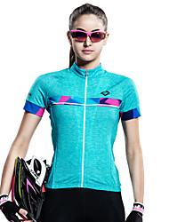 SANTIC® Cycling Jersey Women's Short Sleeve Bike Breathable Quick Dry Ultraviolet Resistant Jersey Tops 100% Polyester Patchwork Summer