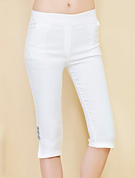 Women's Plus Size Skinny Chinos Pants,Casual/Daily Work Beach Vintage Simple Cute Solid Mid Rise Elasticity Cotton Stretchy Summer