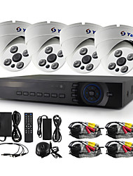 YanSe® 4 Channel 720P CCTV Camera D/N IR Array 4 LED Waterproof Wired AHD DVR Kit
