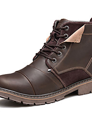 Men's Boots Fall Winter Other Leather Outdoor Casual Work & Safety Flat Heel Black Brown