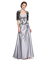 LAN TING BRIDE A-line Mother of the Bride Dress - Two Pieces Floor-length Sleeveless Satin with Appliques Beading Pleats