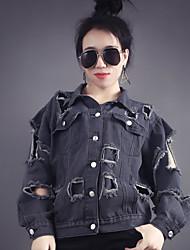 Sign spring Korean version CHINSTUDIO customized denim jacket female wild loose hole locomotive
