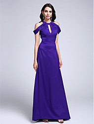TS Couture Prom Formal Evening Dress - Elegant Sheath / Column Jewel Sweep / Brush Train Stretch Satin with Pleats