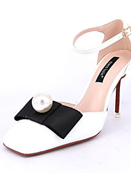 Women's Heels Spring Comfort PU Outdoor Low Heel Jewelry Heel Black Pink White Walking
