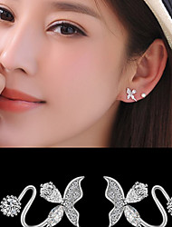 Stud Earrings Clip Earrings AAA Cubic Zirconia Costume Jewelry Cubic Zirconia Silver Plated Alloy Jewelry For Wedding Party Daily Casual