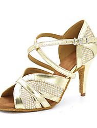Для женщин-Дерматин-Персонализируемая(Золотистый) -Латина Джаз Сальса Обувь для свинга