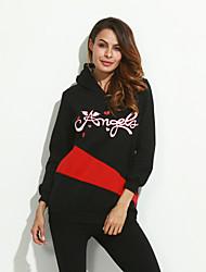 Women's Casual/Daily Simple Regular HoodiesPrint Red / Black / Purple Hooded Long Sleeve Cotton Fall Medium