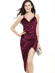 Moulante Robe Femme Soirée / Cocktail Sexy simple,Couleur Pleine Col en V Mini Asymétrique Sans Manches Bleu Rose Rouge Noir Argent