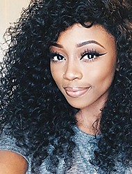 100% Human Virgin Hair Lace Wig Lace Front Natural Kinky Curly Lace  Wig-glueless with Baby Hair