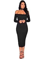 Women's Ribbed Knit Off Shoulder Dress