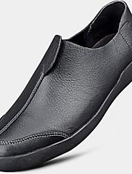 Men's Loafers & Slip-Ons Comfort Cowhide Fall Casual Comfort Ruched Flat Heel Black Coffee 1in-1 3/4in