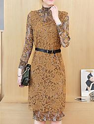 Feminino Reto Vestido, Para Noite Casual Trabalho Vintage Simples Moda de Rua Floral Colarinho Chinês Acima do Joelho Manga LongaPreto
