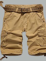 Masculino Tamanhos Grandes Reto Delgado Chinos Shorts Calças-Cor Única Esportivo Casual Praia Activo Simples Moda de Rua Cintura Baixa