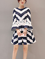 Women's Going out Casual/Daily Street chic Slim Thin A Line Skater Dress Striped Patchwork Lace Pleated Flare Sleeve Above Knee Blue Spring /Fall