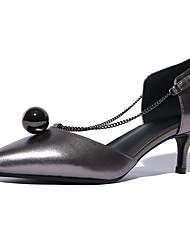 Damen-High Heels-Büro Kleid Lässig Party & Festivität-Leder-Kitten Heel-AbsatzSchwarz Silber