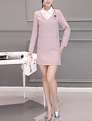 Damen Hülle Kleid-Ausgehen Lässig/Alltäglich Urlaub Einfach Street Schick Solide Hemdkragen Übers Knie Langarm Rosa PolyesterFrühling