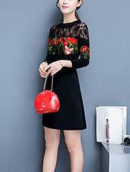 Women's Going out Casual/Daily Cute A Line Sheath Dress,Embroidered Cut Out Round Neck Above Knee ¾ Sleeve Rayon Acrylic Spandex Black