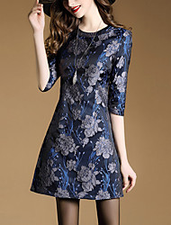 Women's Going out Street chic A Line Dress,Jacquard Round Neck Above Knee ¾ Sleeve Polyester Blue Spring Summer Mid Rise Inelastic