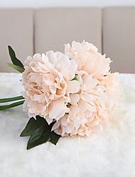 Wedding Flowers Round Roses Peonies Artificial Silk Flower Bouquet Home Wedding Floral Decor (27*19cm