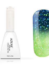 azul de uñas de gel empapa del uv color de esmalte que cambia con la temperatura 25 # -36 # (12 ml, 48 colores)