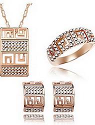 Kristall Aleación Weiß Schwarz Silber 1 Halskette 1 Paar Ohrringe 1 Armreif Für Party 1 Set Hochzeitsgeschenke