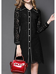 Women's Going out Casual/Daily Holiday Vintage Simple Boho Lace Tunic Dress,Embroidered Cut Out Mesh Shirt Collar Above Knee Long Sleeve