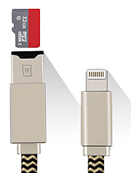Lightning Charger Cable USB to MicroSD/TF Card Reader Adapter(Max Support 128G)