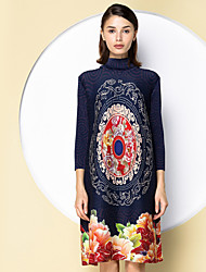 SHYSLILY Women's Going out Sophisticated Tunic DressFloral Turtleneck Above Knee  Sleeve Polyester Blue Red Black Spring Fall Mid Rise