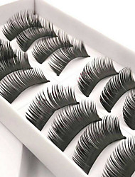 10Pairs Beauty Thick Makeup False Eyelashes Long Black Natural Handmade Eye Lashes Extension