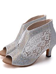 Maßfertigung-Keilabsatz-Spitze Glitzer-Latin Jazz Modern Swing Schuhe Tanzstiefel-Damen