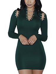 Femme Découpé Moulante Robe Décontracté/Quotidien Soirée Sexy Chic de Rue,Mosaïque Col en V Mini Manches Longues Rose Vert PolyesterPrintemps