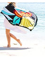 retro grande encobrimento borla praia impressão de algodão rodada das mulheres xaile 150 centímetros