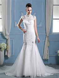 A-line Wedding Dress See-Through Chapel Train High Neck Lace Tulle with Beading Lace