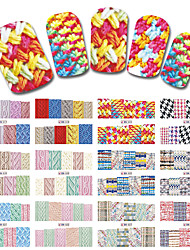 12 Sheets/Set New Latest Winter Designs Sweater Material Nail Sticker Colorful Full Tips Wraps for Water Decals BN517-528