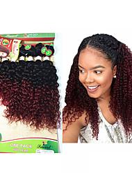 8-14inch 8 шт / много бразильский глубокий курчавый ombre burgundy цвет виргинские волосы бразильские виргинские волосы кудрявые фигурные переплетения